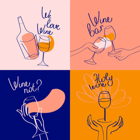 Set of four banners for wine bar and wine lovers, simply lines style, vector illustration