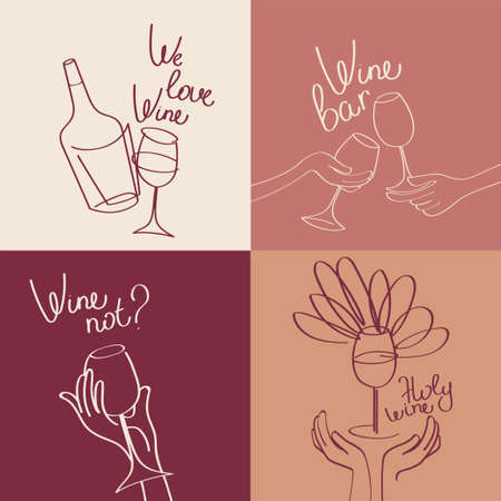 Set of four banners for wine bar and wine lovers, simply lines style, tender palette, vector illustration