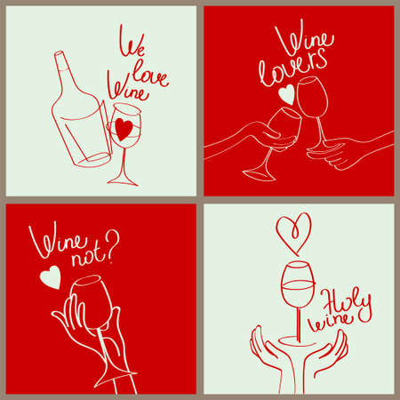 Set of four banners for wine bar and wine lovers, can be used for valentine's day, red color, vector illustration
