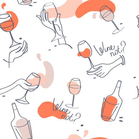 Seamless pattern for wine bar and wine lovers, simply hand drawn style, parisian party style, vector illustration