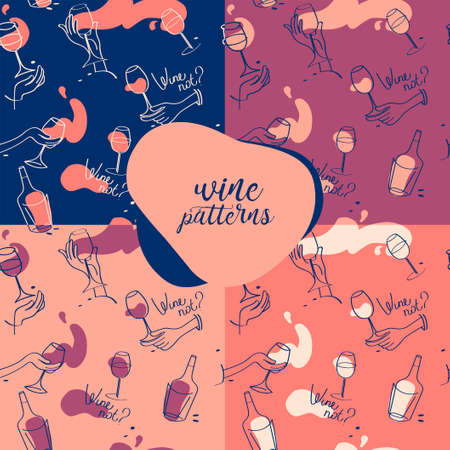 Set of four seamless patterns for wine glasses and wine bottles, vector illustrations