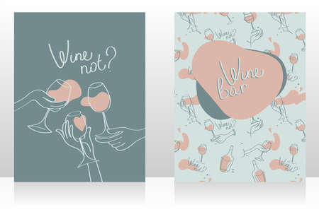 Set of two cards for wine bar, can be used as menu cards templates, tender dusty colors, vector illustration Ilustração