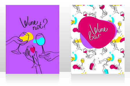 Set of two cards for wine bar, can be used as menu cards templates, funky palette, vector illustration