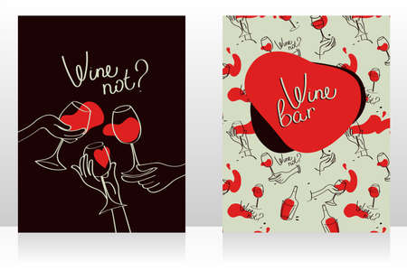 Set of two cards for wine bar, can be used as menu cards templates, retro style, vector illustration