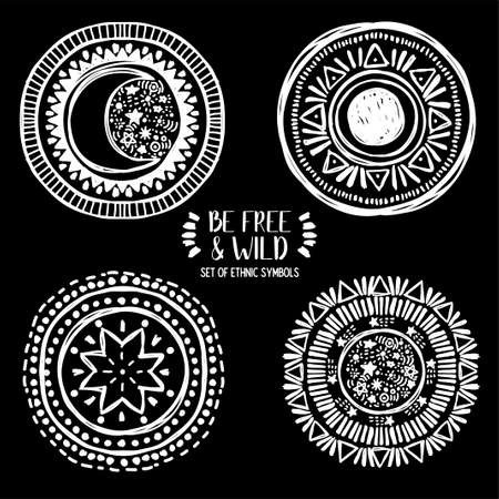 set of four ethnic style symbols, moon, sun and stars, can be used for tattoo, vector illustrations