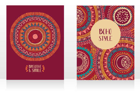 set of two ethnic style cards with ornaments and sun symbol, can be used for tattoo salon, vector illustrations