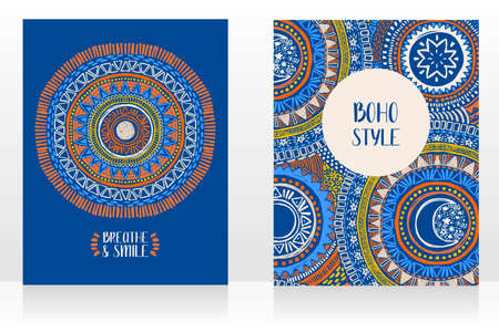 set of two ethnic style cards with ornaments and sun symbol on blue background, can be used for tattoo salon, vector illustrations Ilustração