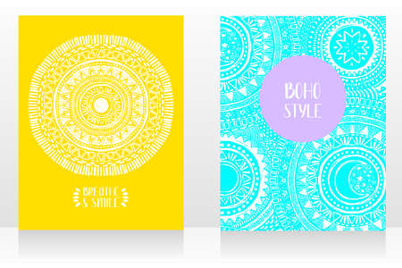 set of two ethnic style cards with ornaments and sun symbol, can be used for tattoo salon, light blue and yellow colors, vector illustrations