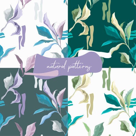 Set of seamless patterns with elegant creative leaves, dusty green and lavender colors, vector illustrations