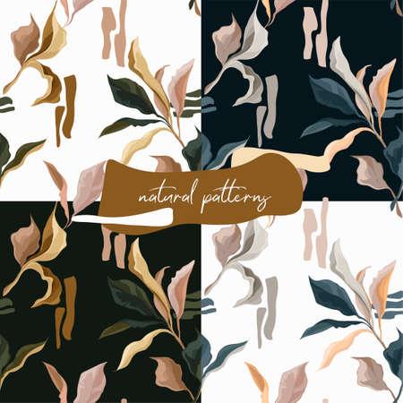Set of seamless patterns with elegant creative leaves, autumn colors, vector illustrations Ilustração