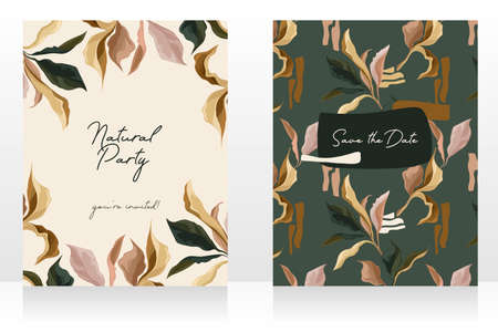 Two cards with elegant creative leaves, can be used for wedding day, autumn colors, vector illustrations