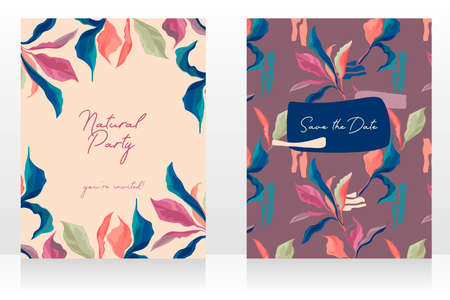Two cards with elegant creative leaves, can be used for wedding day, spring colors, vector illustrations Ilustração