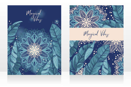 Two cards with tropical leaves and mandala ornament in the night, posters for magical vibes, vector illustration