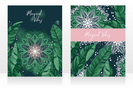 Two cards with tropical leaves and mandala ornament in the night, posters for magical vibes, can be used as party invitation, green and pink colors, vector illustration Ilustração