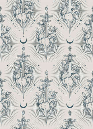 Seamless pattern with blooming heart with sword in it, symbol of love and self-knowledge, vector illustration Ilustración de vector