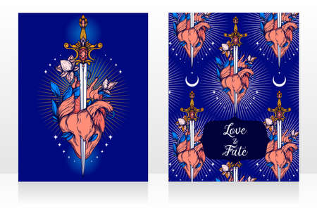 Two cards with blooming heart with sword in it, symbol of love and self-knowledge, vector illustration Ilustración de vector