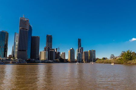 City skyline with buildings in Australia, Melbourne. Background of a cityscape over blue sky in the day