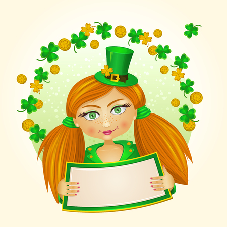 Red girl dressed like leprechaun holding a banner in her hands with clover leafs and coins over her head