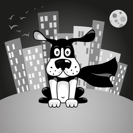 super dog: Black and white dog in superhero costume sitting at night on a city background Illustration