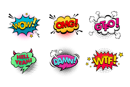 Comic speech bubbles set with different emotions and text Wow, Omg, Gtfo, Hell Yeah, Damn, Wtf . Vector bright dynamic cartoon illustrations isolated on white background. Vettoriali