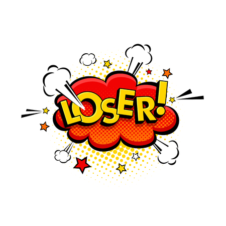 Comic speech bubble with expression text Loser, stars and clouds. Vector bright dynamic cartoon illustration in retro pop art style isolated on white background.