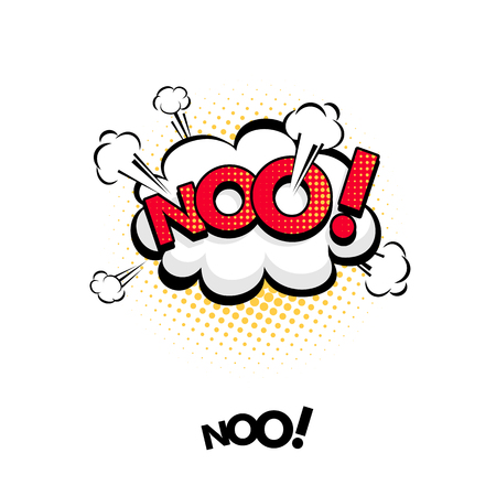 Comic speech bubble with emotional text No! Vector bright dynamic cartoon illustration in retro pop art style isolated on white background.
