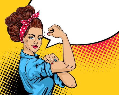 We Can Do It poster. Pop art sexy strong girl. Classical american symbol of female power, woman rights, protest, feminism. Vector colorful hand drawn background in retro comic style.