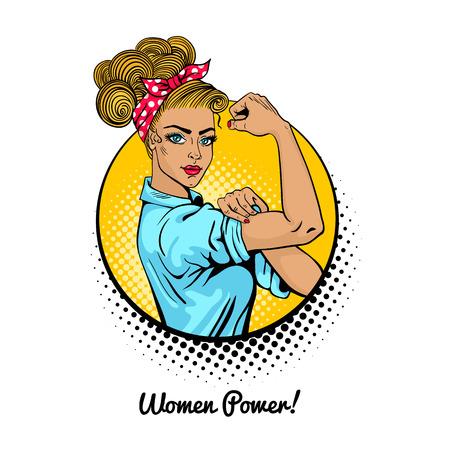 Vrouwen macht. Pop-art sexy sterke blonde meisje in een cirkel op een witte achtergrond. Klassiek Amerikaans symbool van vrouwelijke macht, vrouwenrechten, protest, feminisme. Vector kleurrijke illustratie in retro komische stijl.