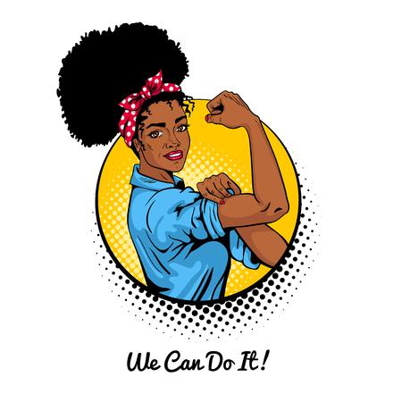 우리는 할 수있다. 팝 아트 섹시 한 강한 아프리카 여자 서클에서 흰색 배경에. 여성의 힘, 여성의 권리, 항의, 페미니즘의 고전 미국 상징. 복고풍 만화 스타일에서 벡터 다채로운 그림입니다.