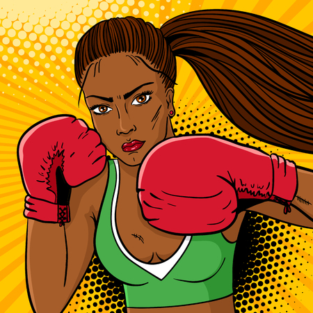 Sexy aggressive woman boxer with dark skin in red boxing gloves ready to fight. Vector hand drawn colorful  background in pop art retro comic style. 向量圖像