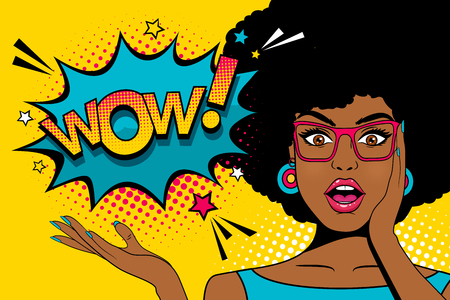 Wow pop art  face. Sexy surprised young african woman with open mouth and afro hairstyle in glasses and Wow speech bubble. Vector colorful background in pop art retro comic style.