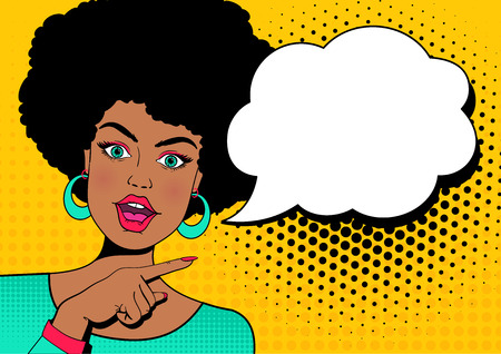 Young surprised afro american woman with open mouth and hand pointing on speech bubble