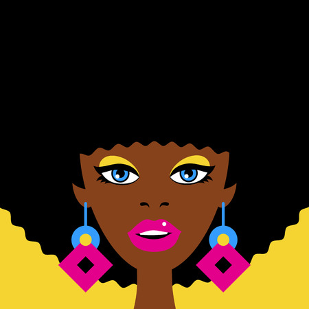 Young sexy surprised african woman face with open mouth and big earrings. Vector colorful background in retro comic style. Иллюстрация