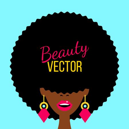 Sexy donkere vrouw met open mond, Afrikaans kapsel voor haar ogen en grote oorbellen. Vector plat kleurrijke achtergrond in retro komische stijl.