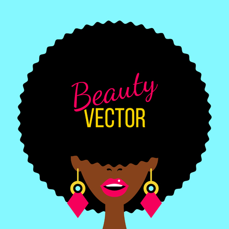 Sexy dark skinned woman with open mouth, african haircut covering her eyes and big earrings. Vector flat colorful background in retro comic style. Illustration