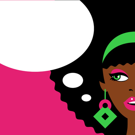 Sexy afro american woman with open mouth, african hairstyle and big earrings looking to the empty speech bubble. Vector flat colorful illustration in retro comic style.