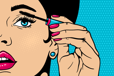 Pop art makeup. Closeup of sexy girl paints her eyes with mascara in her hand. Vector coloful background in comic retro pop art style. Cosmetics appliying on female face. Vettoriali