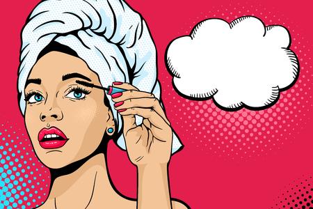 Pop-art make-up. De close-up van sexy meisje in badhanddoek op haar hoofd schildert haar ogen met mascara in haar hand. Vector kleurrijke achtergrond in komische retro pop-artstijl. Schoonheidsmiddelen die op vrouwelijk gezicht van toepassing zijn.