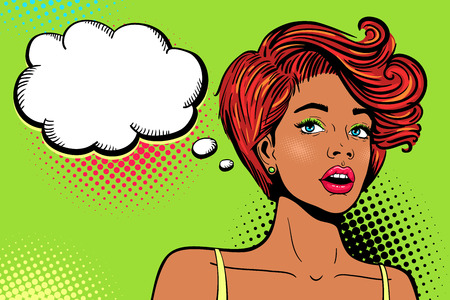 Wow pop art female face. Sexy surprised young african woman with open mouth, bright makeup, ginger hair and empty speech bubble. Vector colorful background in pop art retro comic style. Invitation poster.