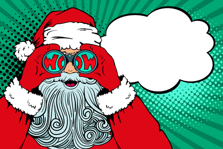 Wow pop art Santa Claus with open mouth holding binoculars in his hands with inscription wow in reflection and speech bubble.