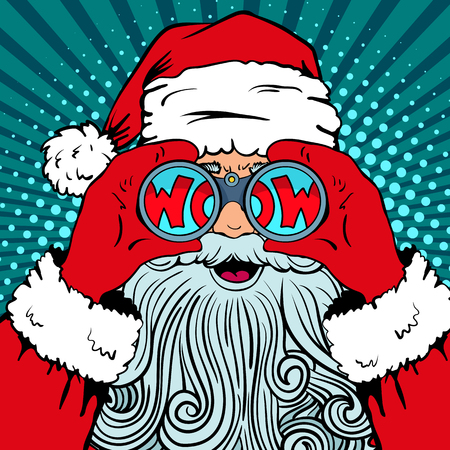 Wow pop art Santa Claus with surprised face Ilustração