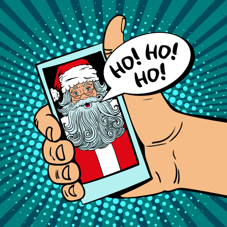 Ho! Ho! Ho! Male hand holding a smartphone with Santa Claus with open mouth on screen and speech bubble. Illustration