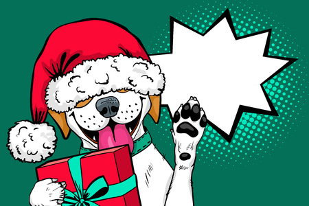 Funny dog in Santa Claus hat with open mouth and gift box rises his paw up and speech bubble.