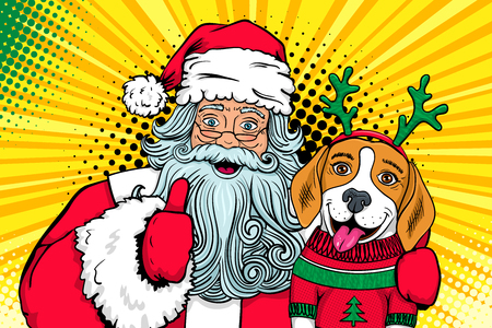 Wow pop art couple. Santa Claus with open mouth hugs funny surprised beagle in a sweater and deer horns and shows thumb up. Vector Christmas illustration in retro comic style. New Year poster.