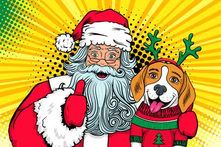 Wow Pop-Art-Paar. Santa Claus mit offenem Mund umarmt lustigen überraschten Beagle in einem Strickjacken- und Rotwildhörnern und zeigt sich Daumen. Vector Weihnachtsillustration in der Retro- komischen Art. Neujahr Poster.