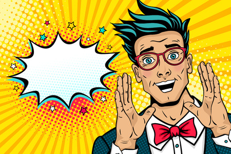 Wow pop art male face. Surprised happy young man in suit, bow tie and glasses with open mouth rises hands screaming announcement. Vector illustration in retro comic style. Party invitation poster.