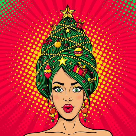 Wow pop art Christmas female face. Young sexy surprised woman with open mouth and decorated New Year tree on a head . Vector bright illustration in retro comic style. New Year party invitation poster.