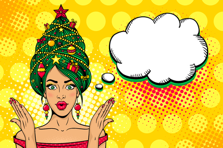 Wow, świąteczna twarz w stylu pop-artu. Młoda zaskoczona kobieta z otwartymi ustami, noworoczne drzewo na głowie unosi ręce. Jasne ilustracji wektorowych w stylu retro komiks. Plakat z zaproszeniem na przyjęcie noworoczne.