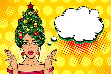 Wow pop art cara de Navidad. Joven mujer sorprendida sexy con la boca abierta, árbol de año nuevo en una cabeza se levanta las manos. Ilustración brillante del vector en estilo cómico retro. Cartel de invitación de fiesta de año nuevo.