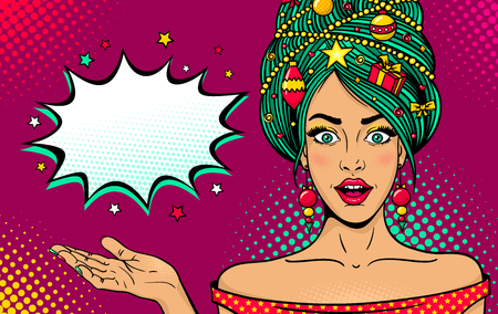 Wow pop art New Year face. Young sexy surprised woman with open mouth, Christmas tree on head rises her hand. Vector bright illustration in retro comic style. Merry Christmas party invitation poster. 矢量图像